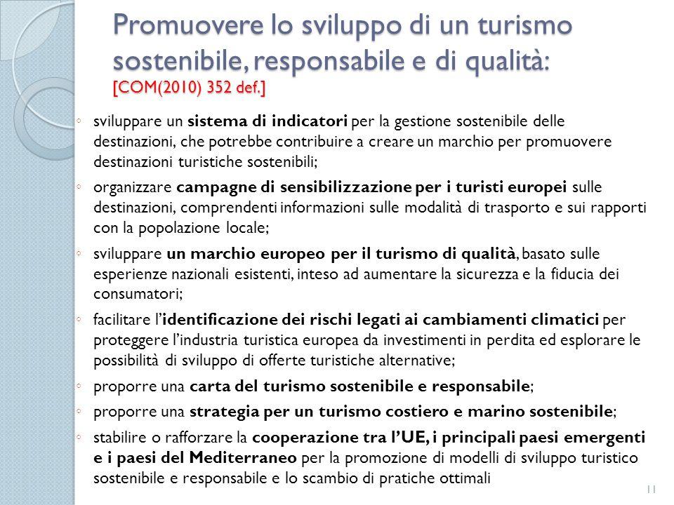 Promuovere lo sviluppo di un turismo sostenibile, responsabile e di qualità: [COM(2010) 352 def.]